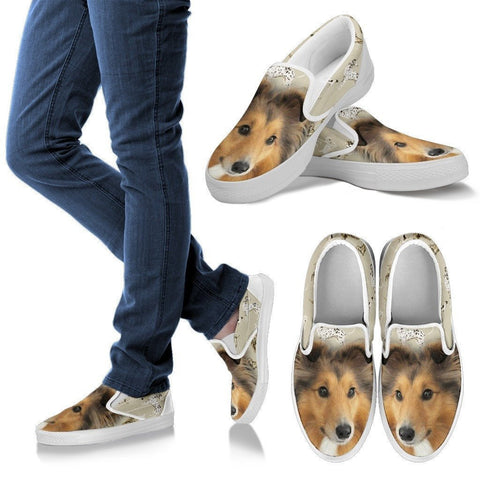 Shetland Sheepdog Print Slip Ons For Women- Express Shipping