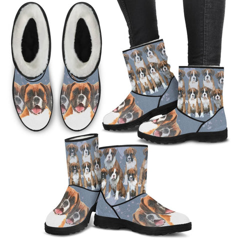Boxer Dog Print Faux Fur Boots For Women-Free Shipping