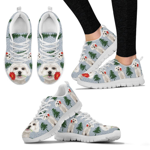 Maltese Dog Christmas Print Running Shoes For Women-Free Shipping