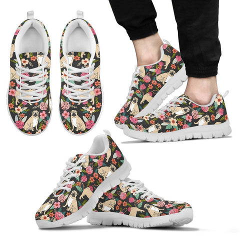 Pug Dog Floral Print Sneakers For Women