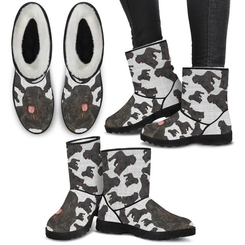 Bouvier des Flandres Print Faux Fur Boots For Women-Free Shipping