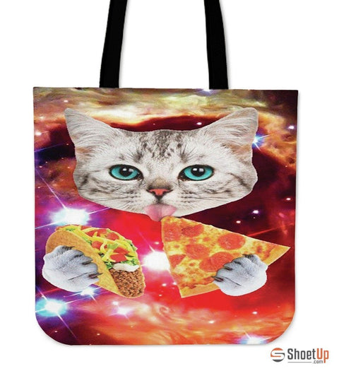 Pizza Loving Cat-Tote Bag-Free Shipping