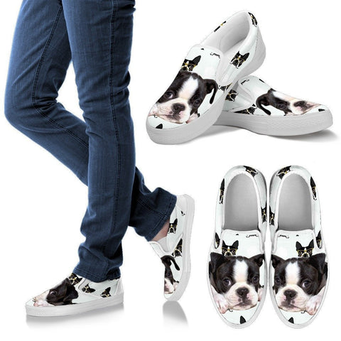 Boston Terrier Print Slip Ons Shoes For Women- Express Shipping