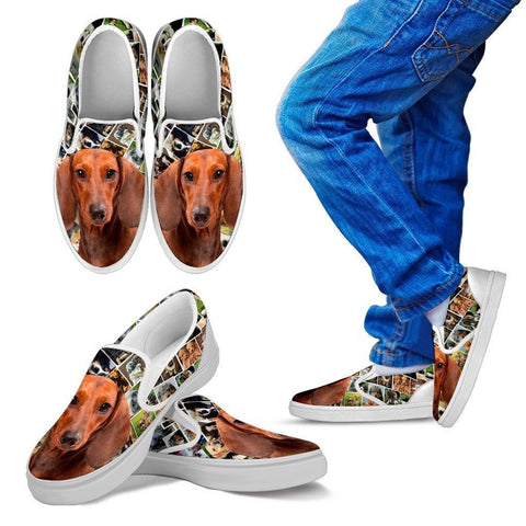 Amazing Dachshund Dog Print Slip Ons For Kids-Express Shipping