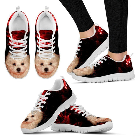 Bolognese Puppy Print Running Shoe For Women- Free Shipping