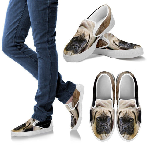 English Mastiff Print Slip Ons For Women- Exrpess Shipping