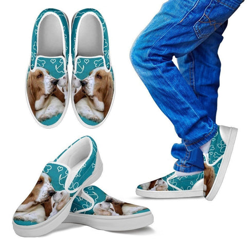 Basset Hound Print-Slip Ons For Kids-Express Shipping