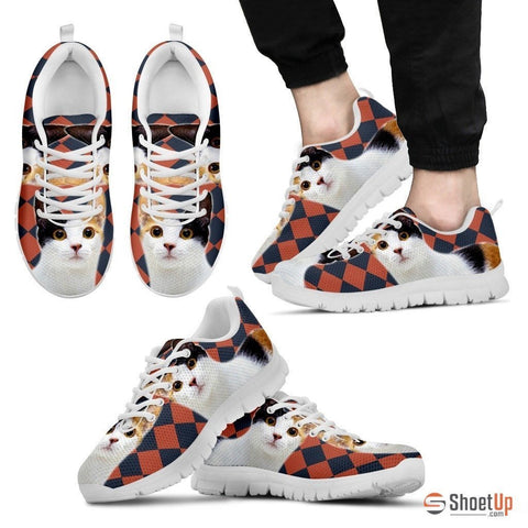 Japanese Bobtail Cat Print (White/Black) Running Shoes For Men-Free Shipping