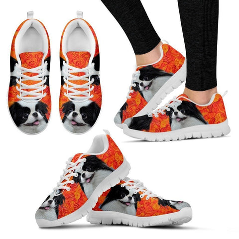 Cute Japanese Chin Print-White Running Shoes For Women-Express Shipping