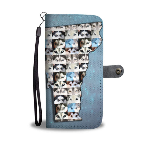 Siberian Husky Dog Eyes Print Wallet Case-Free Shipping-VT State