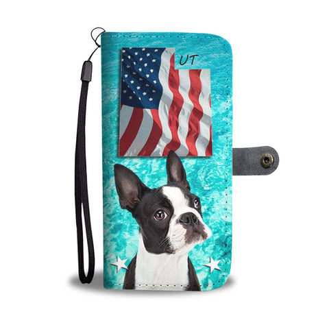 Cute Boston Terrier Print Wallet Case- Free Shipping-UT State