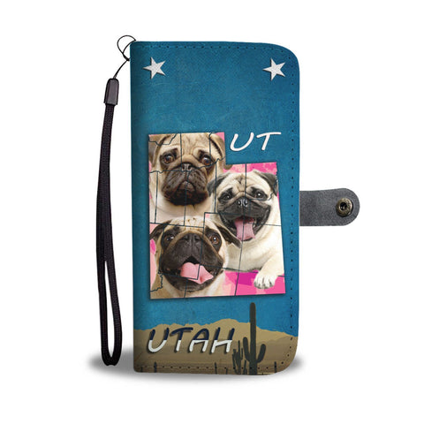 Cute Pug Dog Print Wallet Case- Free Shipping-UT State