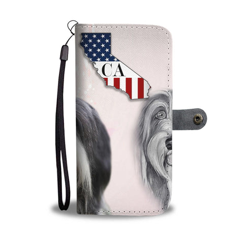 Bearded Collie Print Wallet Case-Free Shipping-CA State