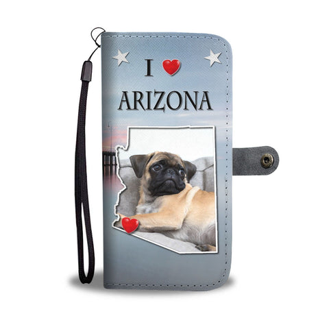 Cute Pug Dog Print Wallet Case-Free Shipping-AZ State