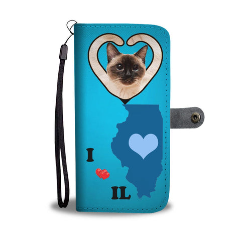Siamese cat Print Wallet Case-Free Shipping-IL State