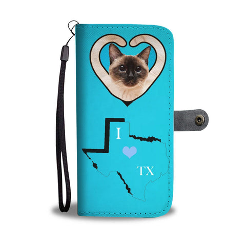 Siamese cat Print Wallet Case-Free Shipping-TX State