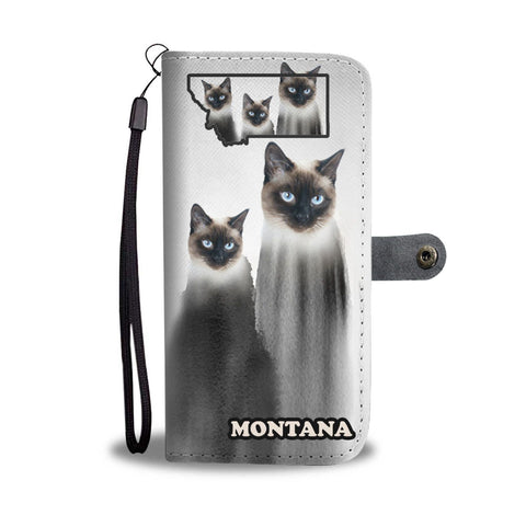 Siamese Cat Print Wallet Case-Free Shipping-MT State