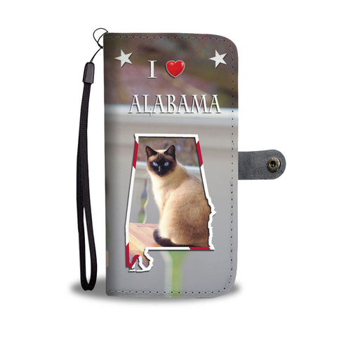 Siamese Cat Print Wallet Case Print-Free Shipping-AL State