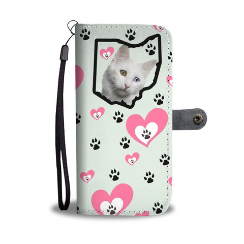 Turkish Angora Cat Heart With Paws Print Wallet Case-Free Shipping-OH State