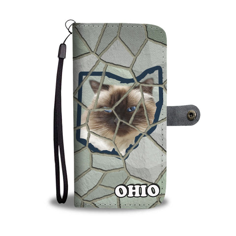 Himalayan Cat Stone Pattern Print Wallet Case-Free Shipping-OH State