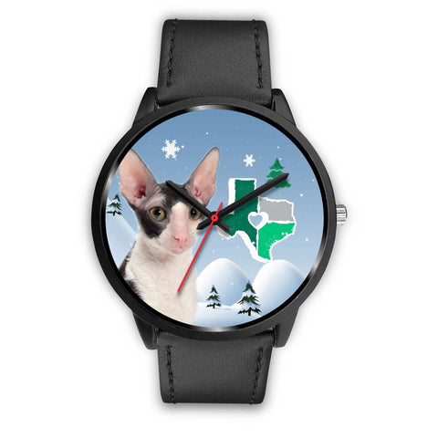 Cornish Rex Cat Texas Christmas Special Wrist Watch-Free Shipping