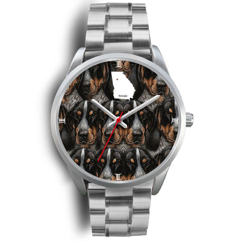 Amazing Bluetick Coonhound Dog Georgia Christmas Special Wrist Watch-Free Shipping