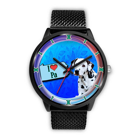 Dalmatian Dog On Blue Pennsylvania Christmas Special Wrist Watch-Free Shipping