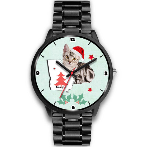American Shorthair Cat Georgia Christmas Special Wrist Watch-Free Shipping