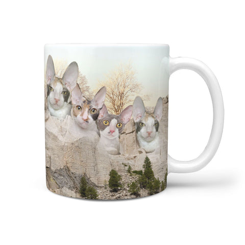 Cornish Rex Cat Mount Rushmore Print 360 White Mug