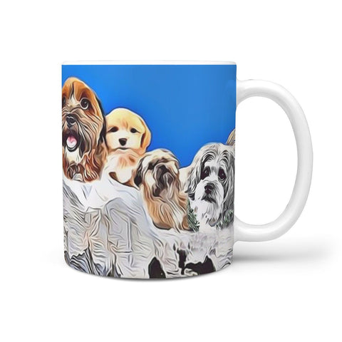 Shih Poo Dog Mount Rushmore Print 360 White Mug