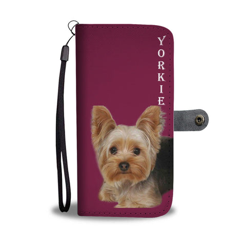 Yorkshire Terrier (Yorkie) On Pink Print Wallet Case-Free Shipping