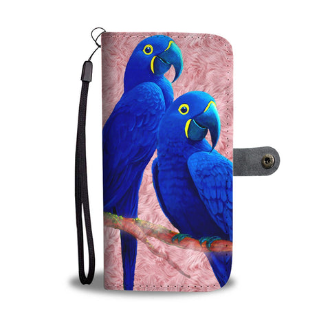 Amazing Hyacinth Macaw Parrot Print Wallet Case-Free Shipping