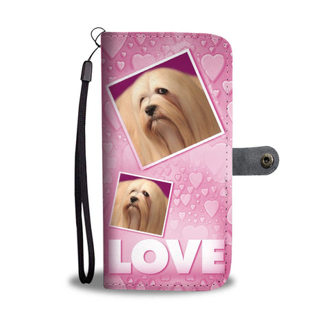 Lhasa Apso Dog with Love Print Wallet Case-Free Shipping