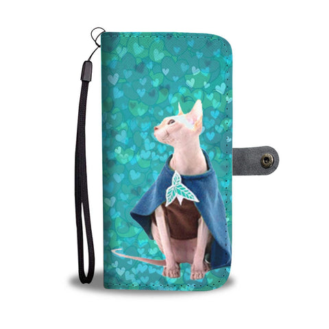 Lovely Sphynx Cat In Costume Print Wallet Case-Free Shipping