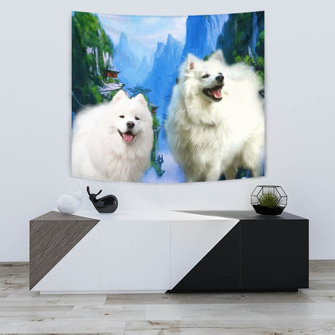 American Eskimo Dog Print Tapestry-Free Shipping
