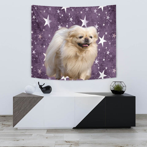 Pekingese Dog On Star Print Tapestry-Free Shipping