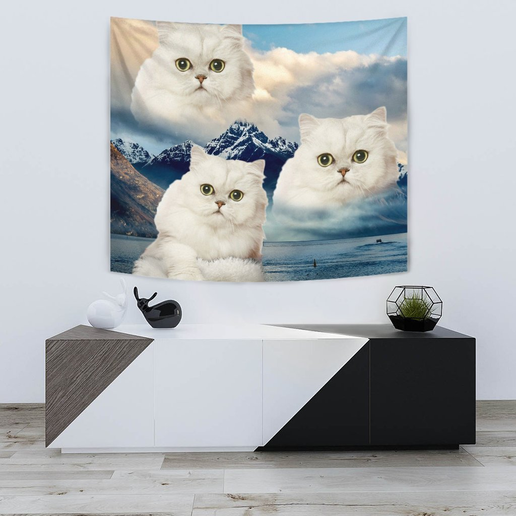 White Persian Cat On Mountain Print Tapestry