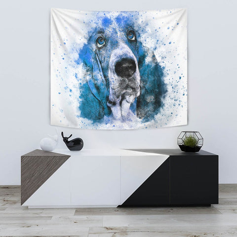 Basset Hound Dog Color Art Print Tapestry-Free Shipping
