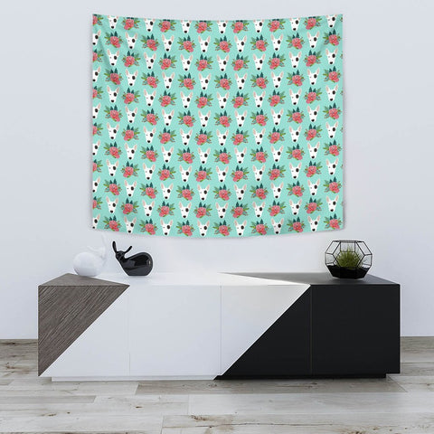 Bull Terrier Dog Floral Print Tapestry-Free Shipping