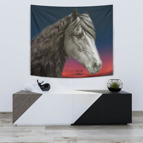 Friesian horse Print Tapestry-Free Shipping