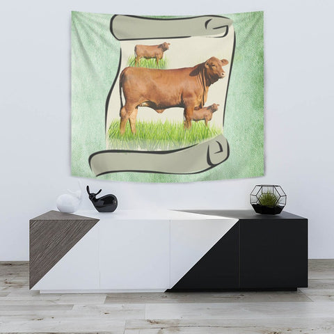 Hand Crafted Red Brangus Cattle Print Tapestry-Free Shipping
