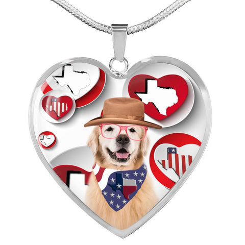 Golden Retriever Print Texas Heart Pendant Luxury Necklace-Free Shipping