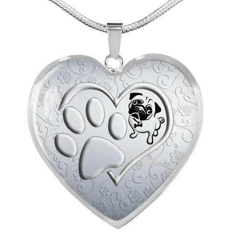Pug Paws Print Heart Pendant Luxury Necklace-Free Shipping
