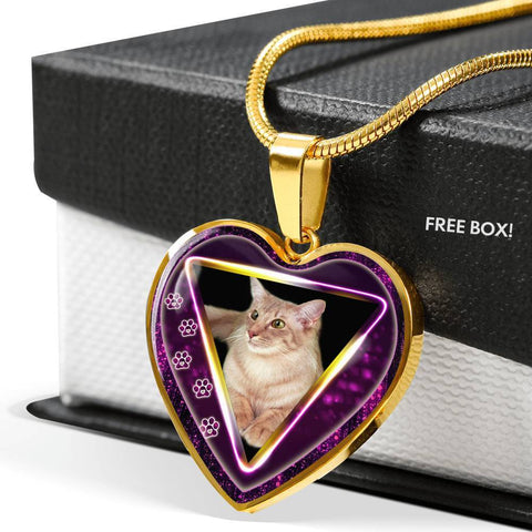 Javanese Cat Print Heart Charm Necklaces-Free Shipping