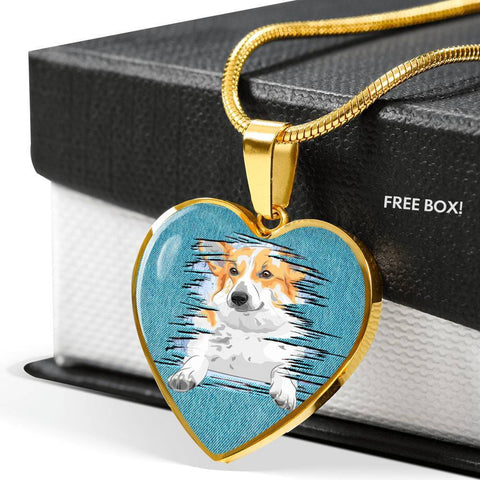Pembroke Welsh Corgi Dog Art Print Heart Charm Necklaces-Free Shipping