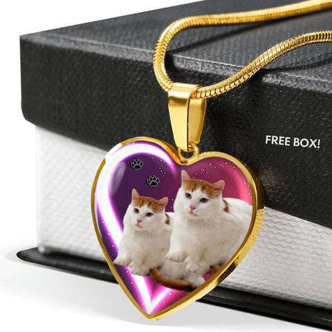 Turkish Van Cat Print Heart Charm Necklaces-Free Shipping