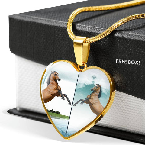Lusitano Horse Print Heart Pendant Luxury Necklace-Free Shipping