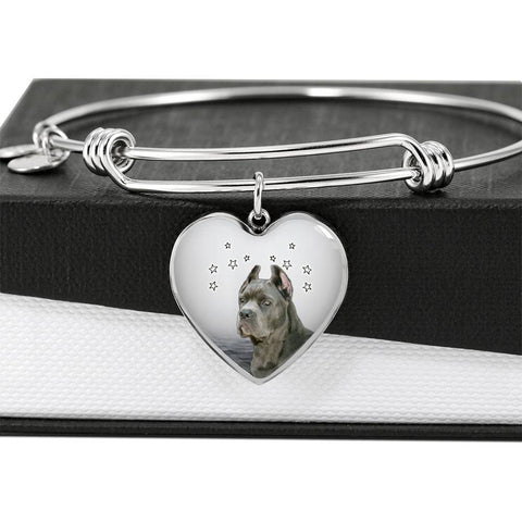 Cane Corso Print Luxury Heart Charm Bangle-Free Shipping