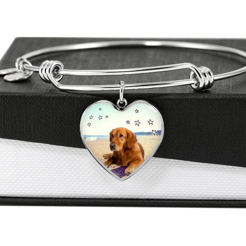 Golden Retriever Print Luxury Heart Charm Bangle-Free Shipping