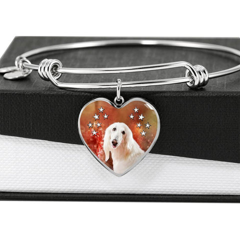 Afghan Hound Print Luxury Heart Charm Bangle -Free Shipping